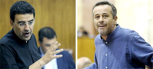El portavoz del PSOE en el Parlamento andaluz, Mario Jiménez, y su homologo de IU, José Antonio Castro.