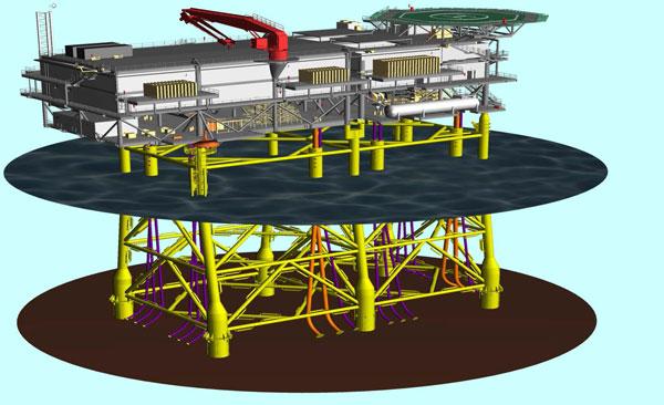 Infografía de la plataforma adjudicada a los astilleros de Navantia en Puerto real, donde se ubicará la subestación del parque eólico offshore de Wikinger, en Alemania.