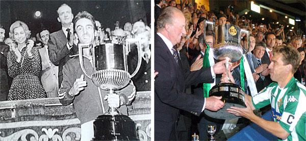 A la izquierda, el rey entrega la Copa de 1977 a Cobo. A la derecha, la de 2005 a Cañas.
