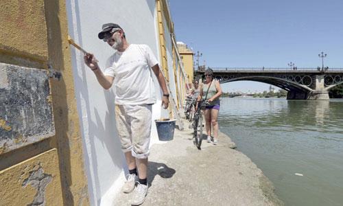 La zapata del río estará lista para la Velá de Santa Ana. / Foto: José Luis Montero