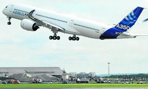 The new Airbus A350 takes off for its maiden flight at the Toulouse-Blagnac airport in southwestern France