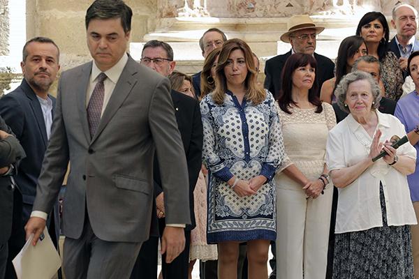 El portavoz del PP-A, Carlos Rojas, criticó con dureza la intervención de Susana Díaz en el homenaje a Blas Infante. / J. J. Montero
