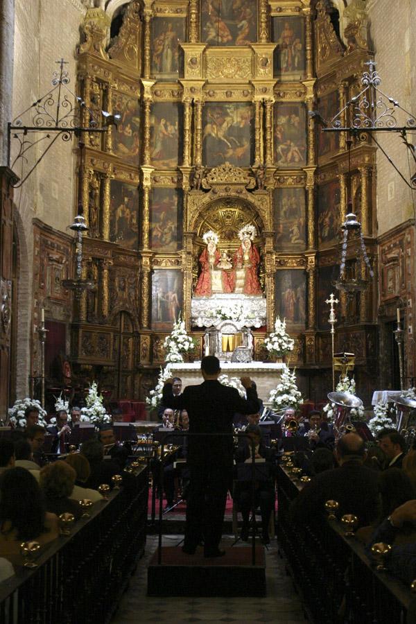 Imagen de archivo de un concierto de la Banda Municipal en el interior de la iglesia de Santa Ana. / J. M. Cabello