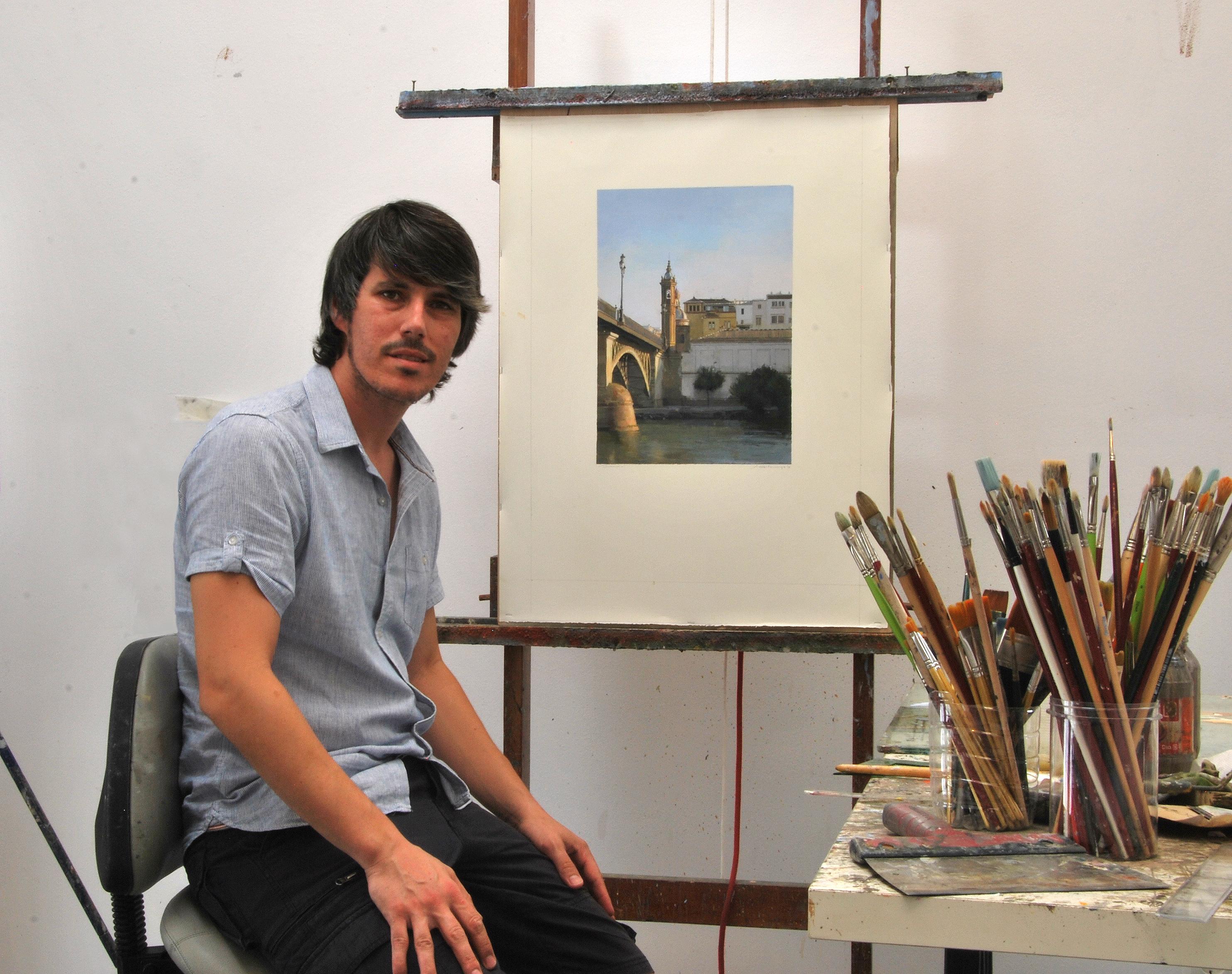 El pintor Jorge Gallego en su estudio de Montellano