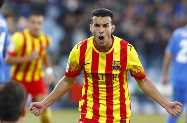 Pedro celebra un gol en un partido de la pasada temporada.