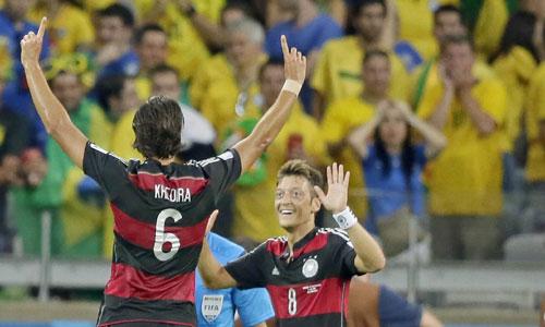 Alemania celebra uno de sus goles a Brasil en las semifinales del Mundial 2014. Foto: Efe