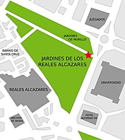 El ACCESO DE PÚBLICO se realizará por la Puerta de la Alcoba, que está situada en Paseo de Catalina de Ribera, Jardines de Murillo, esquina con c/San Fernando.
