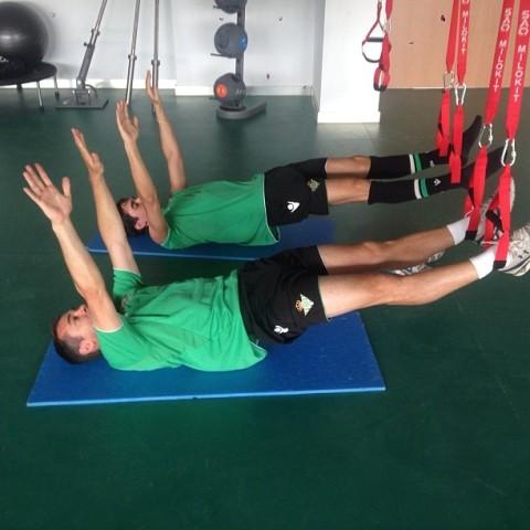 Nacho y Vilarchao, en plena acción en la ciudad deportiva.
