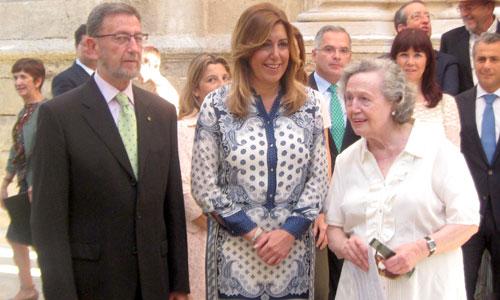 Susana Díaz, hoy junto a Manuel Gracia y María Ángeles Infante. / E.P.