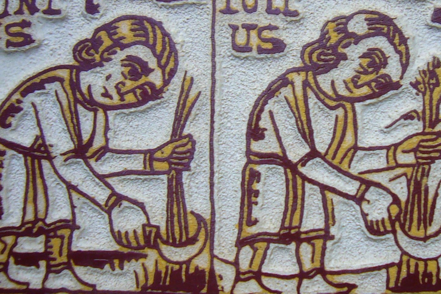 Grabado medieval de campesinos. / US