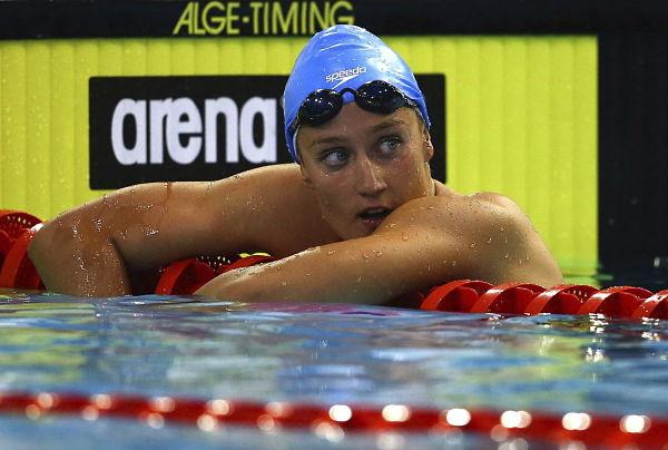 Mireia Belmonte, tras finalizar la carrera de hoy.