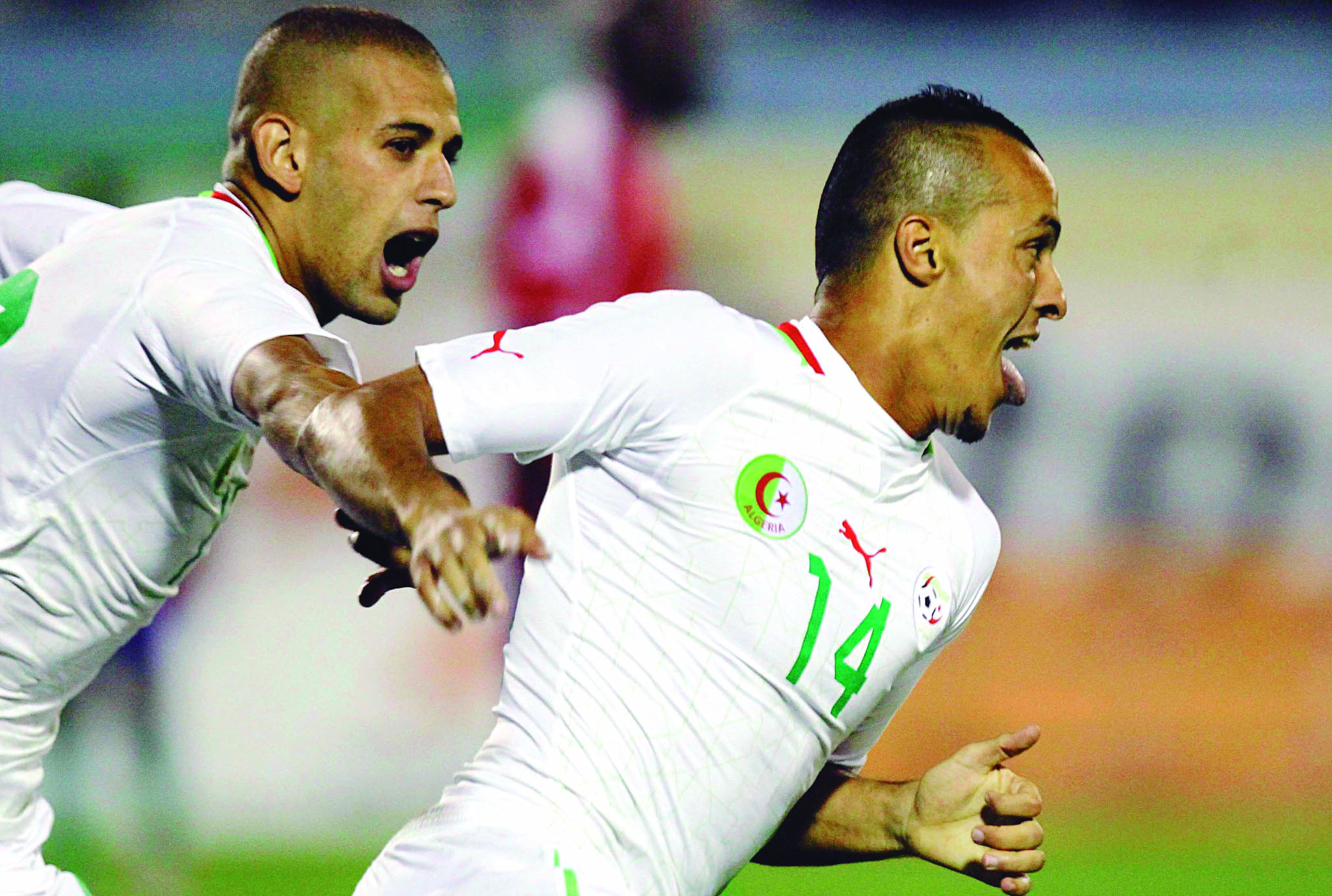 Algeria's Fouad and Slimani celebrate after scoring against Gambia during their African Nations Cup qualifying soccer match at Tacheker stadium in Blida