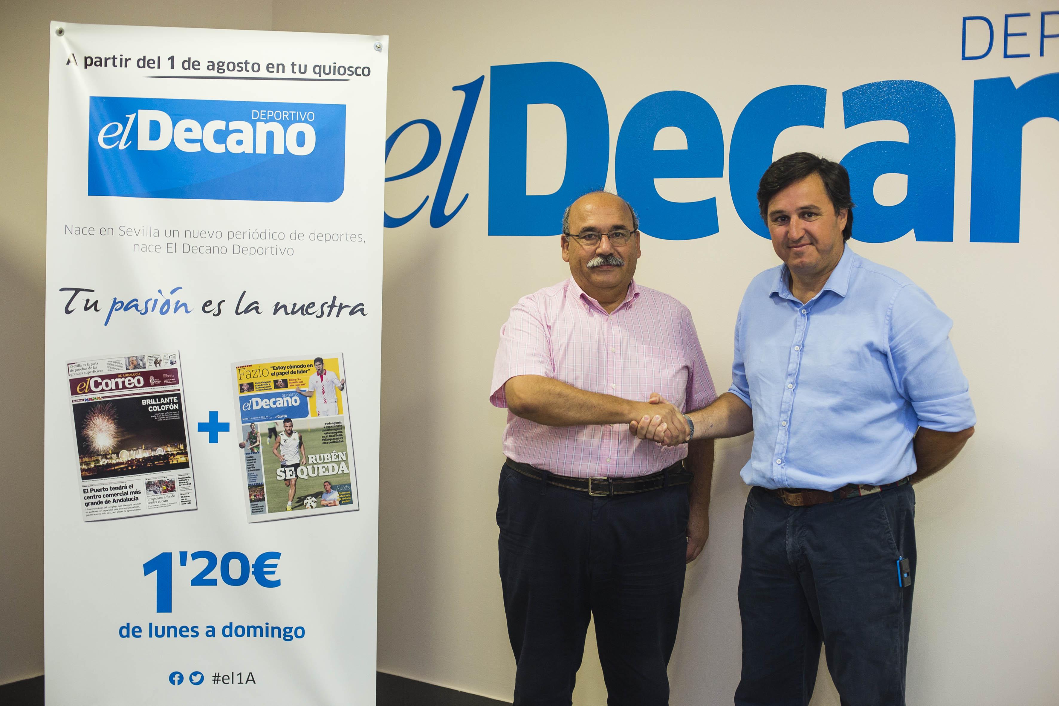 Los presidentes del Helvetia R.C. y del Ciencias Rugby posan en la redacción de El Decano   Foto: Carlos Hernandez