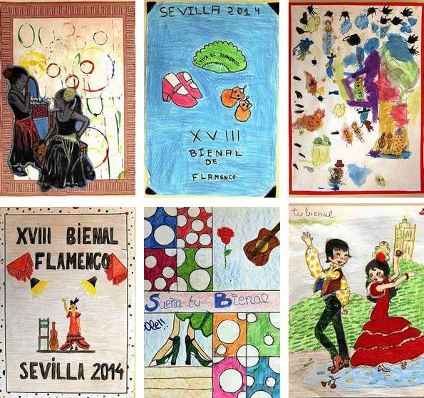 La selección de los seis carteles infantiles que, a día de ayer, llevan más votos recogidos. / El Correo