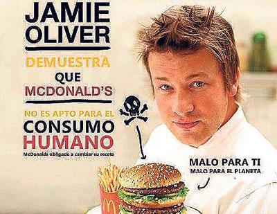 El chef británico Jamie Oliver es un activo luchador contra la comida basura.