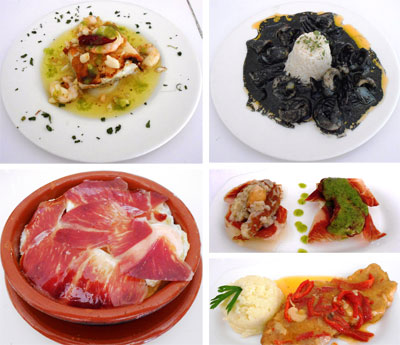de arriba a abajo y de izda. a dcha.: Bacalao al ajillo, Chipi en su salsa, Huevos rotos,  Montero y Lomo en salsa.