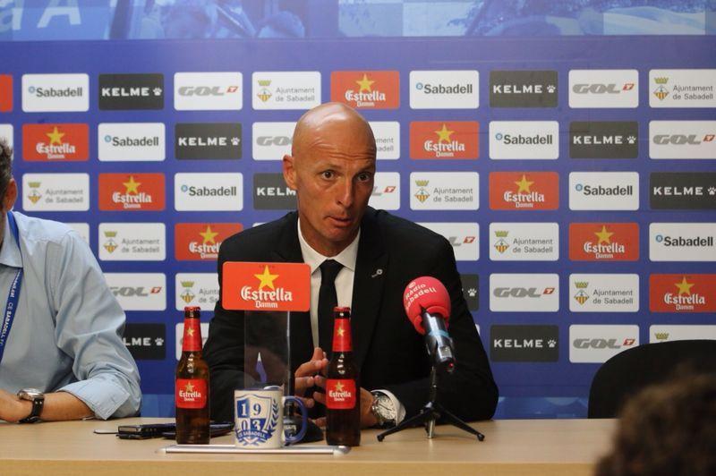 Miquel Olmo, en la rueda de prensa tras el partido / CE Sabadell