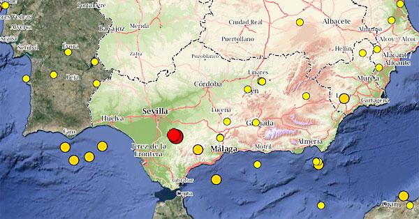 Mapa con los seismos de los últimos días. / Instituto Geográfico Nacional