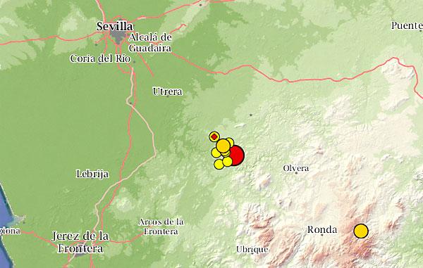 Mapa con los terremotos en la zona este martes. / El Correo