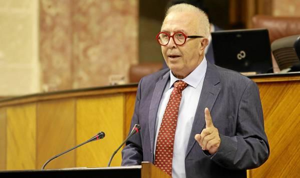 El consejero de Economía, José Sánchez Maldonado, durante su intervención en la primera sesión plenaria del Parlamento tras las vacaciones. / El Correo