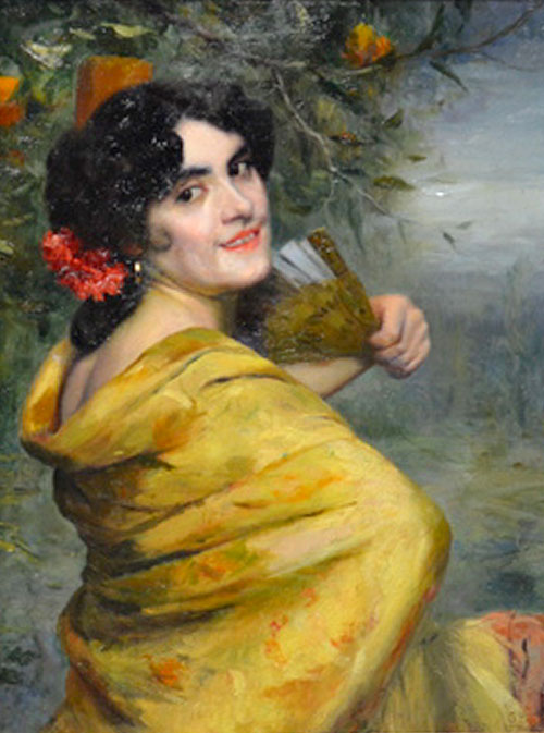 """Mujer Sevillana"" de Gonzalo Bilbao Martínez, O/L 70 X 55 cm"