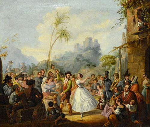 """Fiesta Flamenca"" de Manuel Rodríguez de Guzmán, O/L 68.5 x 80.5cm"