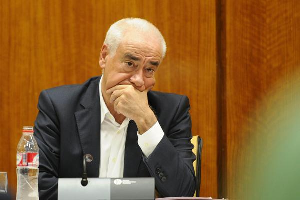 El consejero de Educación, Cultura y Deporte, Luciano Alonso, ayer durante su comparecencia en el Parlamento. / Raúl Caro (EFE)