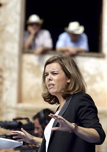 Soraya Sáenz de Santamaría este sábado en Zaragoza. / EFE