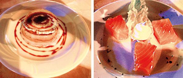 Milhojas de foie (izda.) y Taquitos de salmón.