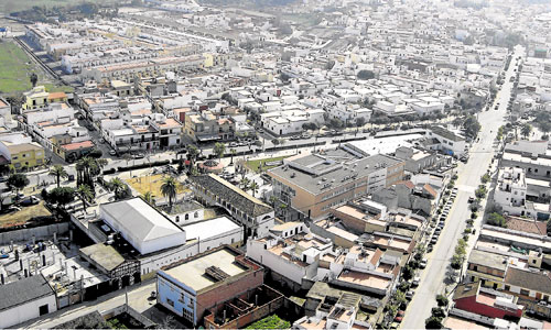 Vista aérea de Guillena, municipio que denuncia los malos olores que supuestamente proceden de la empresa Render Grasas. / Foto: El Correo