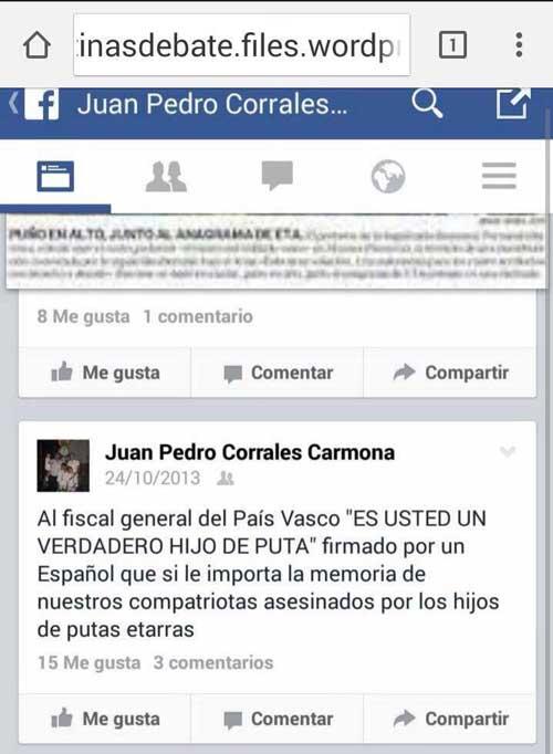 Las supuestas declaraciones del edil del PP en un pantallazo colgado en el Facebook del PSOE de Espartinas.