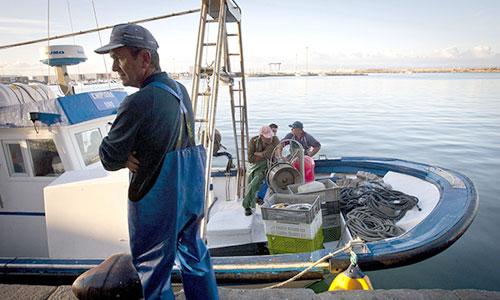 La tripulación del barco 'Chipiona' ultima los preparativos antes de salir ayer, a faenar en el caladero marroquí por primera vez en tres años. / Foto: Román Ríos (Efe)