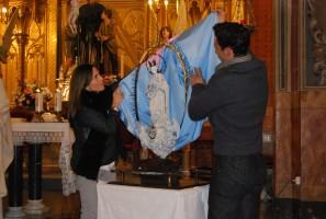 Boceto de la escultura que representará a María Auxiliadora y que será ubicada en la avenida con su mismo nombre. Foto: S. Criado