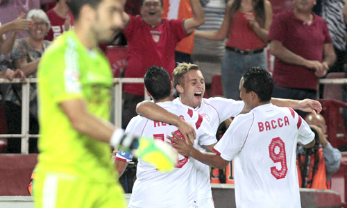 El Sevilla se llevó la victoria en el Sánchez Pizjuán frente a la Real Sociedad. Foto: Julio Muñoz (Efe)