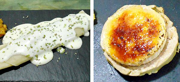 Crepe con espinacas y piñones (izda.) y tapa de foie con queso de cabra caramelizado.