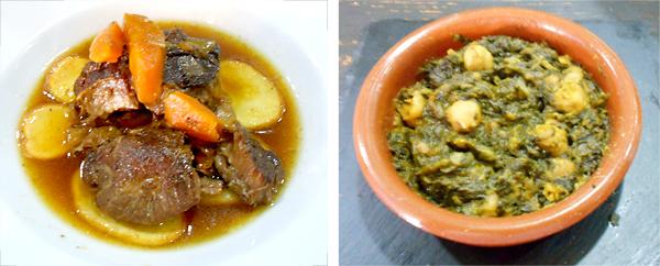 Carrillada ibérica al Pedro Ximénez  y espinacas con garbanzos.