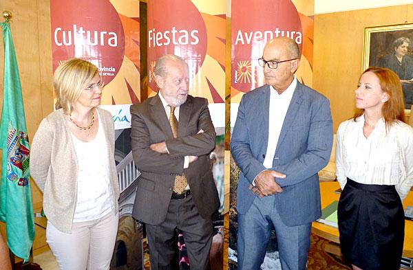 El presidente de la Diputación junto a miembros de la directiva de la Asociación de Escuelas de Español para Extranjeros en Sevilla.
