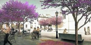 Recreación del entorno que rodeará la Iglesia de Santa María de Sanlúcar la Mayor. Foto: El Correo