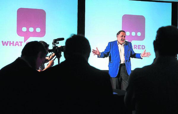 Andrés García Carranza, creador de la app Whatsred, durante la presentación en el Antiquarium.