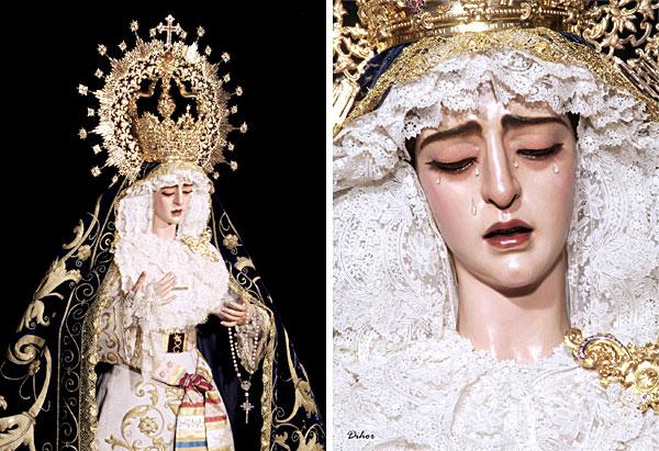Primeras fotos de la Virgen de la Encarnación tras su restauración distribuídas por la hermandad. / En la imagen de la derecha los parches de suciedad bajo los párpados de la Virgen han desaparecido. / El Correo