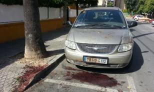 Charco de sangre aparecido en la calle San Juan de Dios de Nervión.