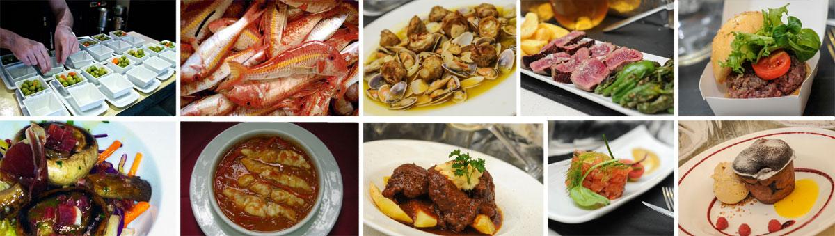De izda. a dcha.: Chipirones con cous cous negro y espuma de ajo; Carrillada ibérica al PX con espuma de patata trufada; Salmón con marinada picante y verduritas.
