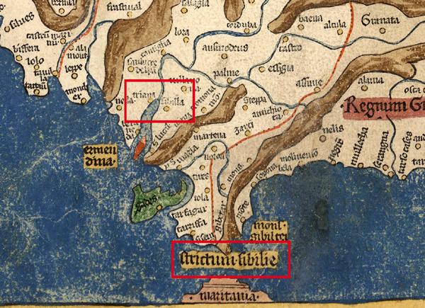 Mapa de la Península Ibérica publicado en Alemania en 1482, en el que el Estrecho de Hércules se rotula como Strictum Sibilie, Estrecho de Sevilla, apareciendo así en los planos hasta 1535. Sevilla es en esta época el principal puerto de la zona y punto clave de conexión entre las rutas comerciales atlántica y mediterránea