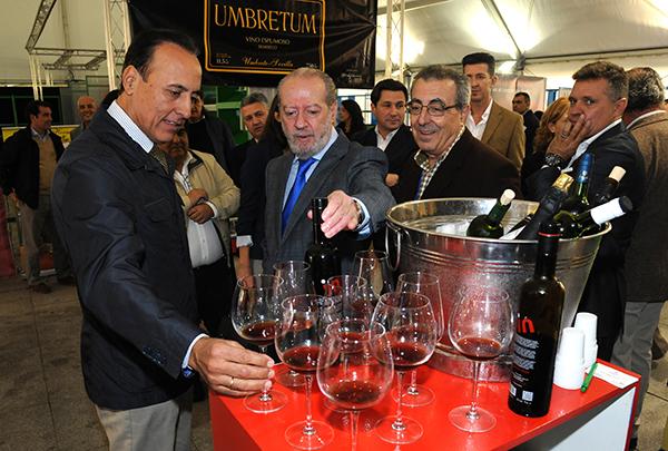 El presidente de la Diputación, Fernando Rodríguez Villalobos, probó ayer las novedades vinícolas de la provincia. / El Correo