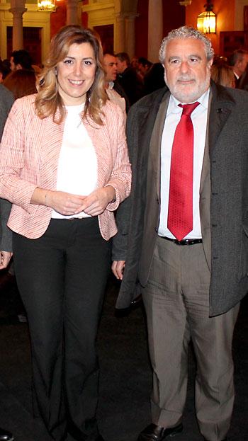 La presidenta de la Junta, Susana Díaz, y el subdirector de RTVA, Joaquín Durán.