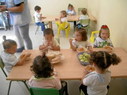 Alumnos de una escuela infantil de la provincia de Sevilla, en el comedor del centro escolar. / El Correo