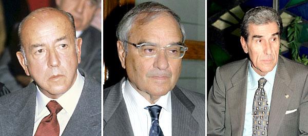 (De izq a dcha) Fotografías de archivo de los exministros españoles José Utrera Molina, Rodolfo Martín Villa y Fernando Suárez. / EFE