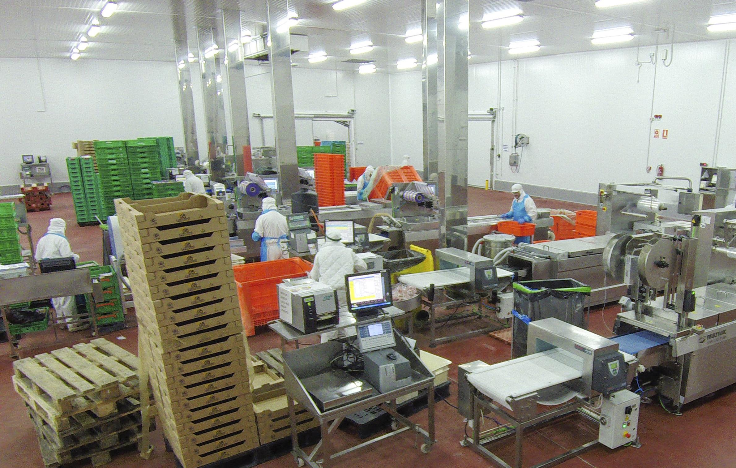 Instalaciones de elaborado y envasado en el complejo cárnico de la empresa Procavi en la localidad sevillana de Marchena. / EL CORREO