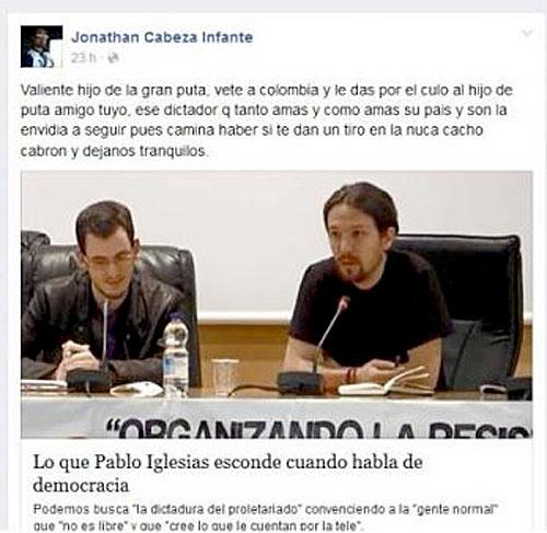Insultos del concejal contra el líder de Podemos, Pablo Iglesias.