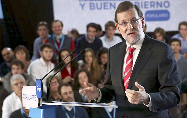 El presidente del Gobierno durante su intervención este sábado en la clausura de las jornadas sobre buen gobierno en los ayuntamientos organizadas por el PP en Barcelona. / EFE